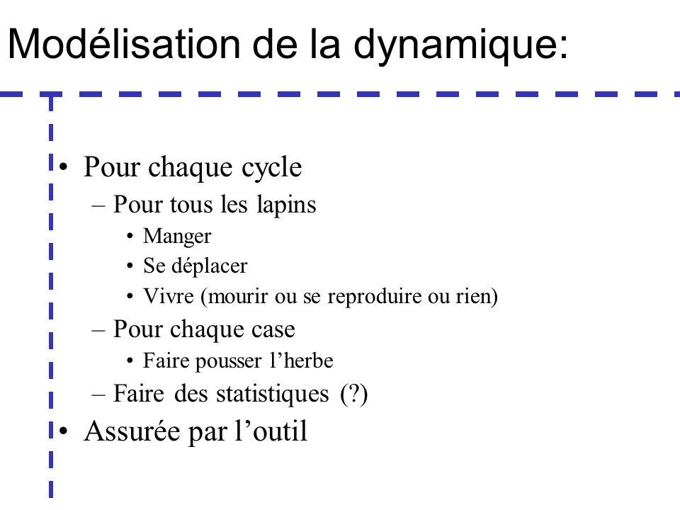 Modélisation de la dynamique: Pour chaque cycle –Pour tous les lapins Manger Se déplacer Vivre (mourir ou se reproduire ou rien) –Pour chaque case Faire pousser lherbe –Faire des statistiques ( ) Assurée par loutil