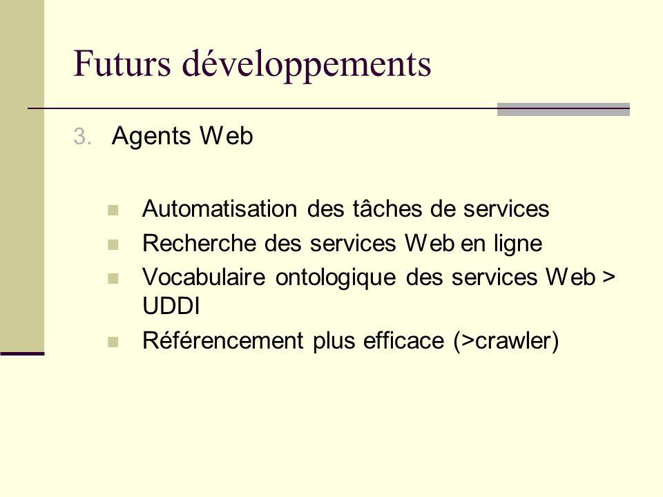 Futurs développements 3. Agents Web Automatisation des tâches de services Recherche des services Web en ligne Vocabulaire ontologique des services Web