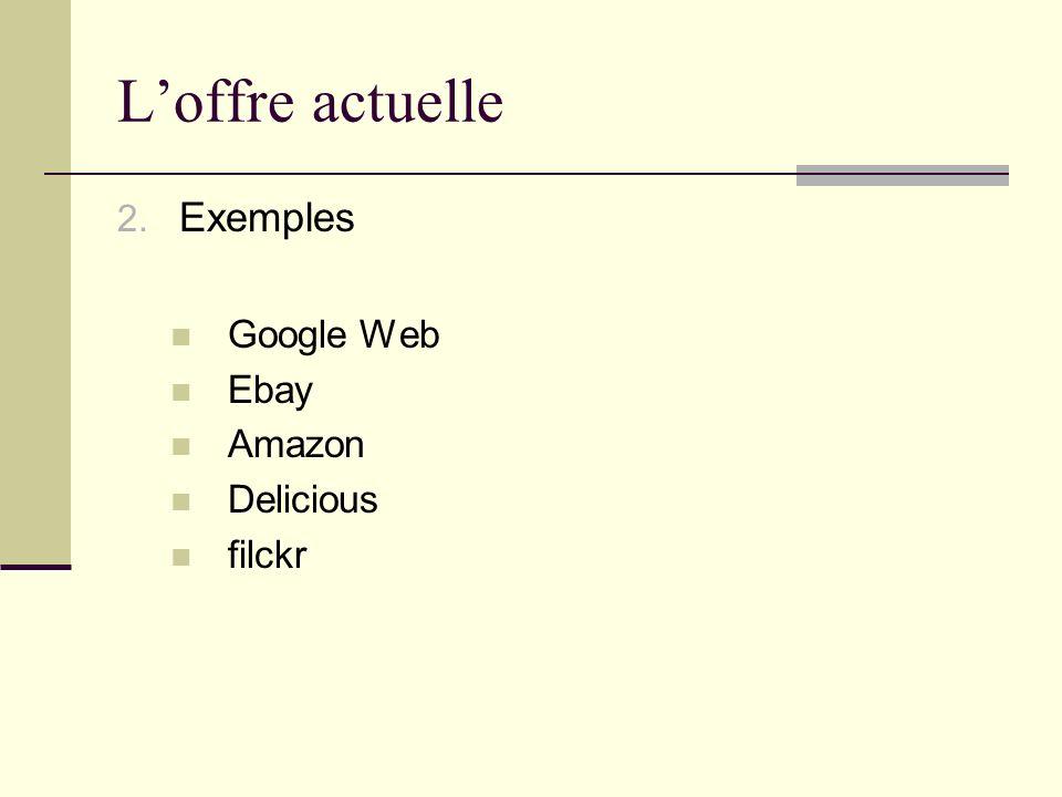 Loffre actuelle 2. Exemples Google Web Ebay Amazon Delicious filckr