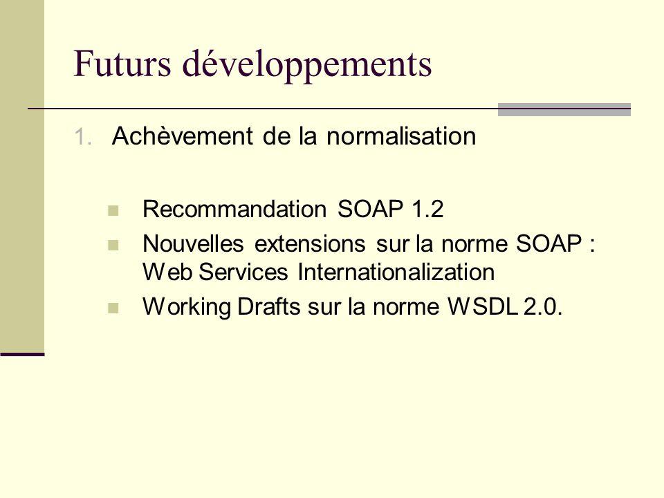 Futurs développements 1. Achèvement de la normalisation Recommandation SOAP 1.2 Nouvelles extensions sur la norme SOAP : Web Services Internationaliza