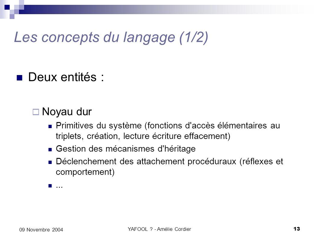 YAFOOL ? - Amélie Cordier13 09 Novembre 2004 Les concepts du langage (1/2) Deux entités : Noyau dur Primitives du système (fonctions d'accès élémentai