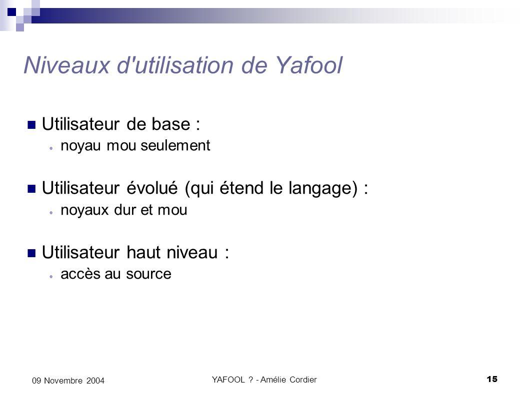 YAFOOL ? - Amélie Cordier15 09 Novembre 2004 Niveaux d'utilisation de Yafool Utilisateur de base : noyau mou seulement Utilisateur évolué (qui étend l