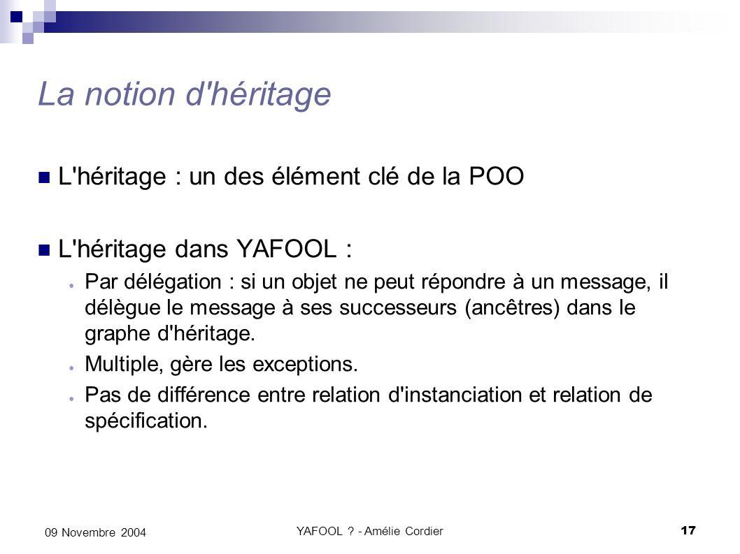 YAFOOL ? - Amélie Cordier17 09 Novembre 2004 La notion d'héritage L'héritage : un des élément clé de la POO L'héritage dans YAFOOL : Par délégation :