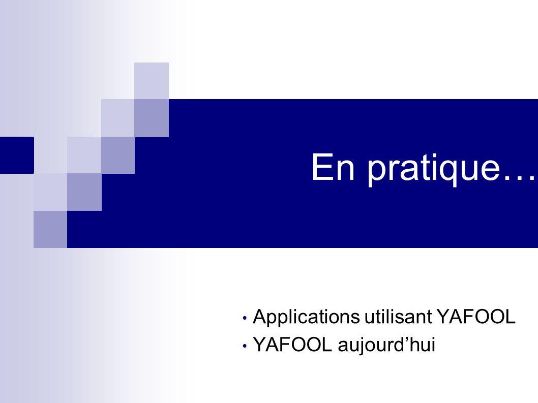 En pratique… Applications utilisant YAFOOL YAFOOL aujourdhui