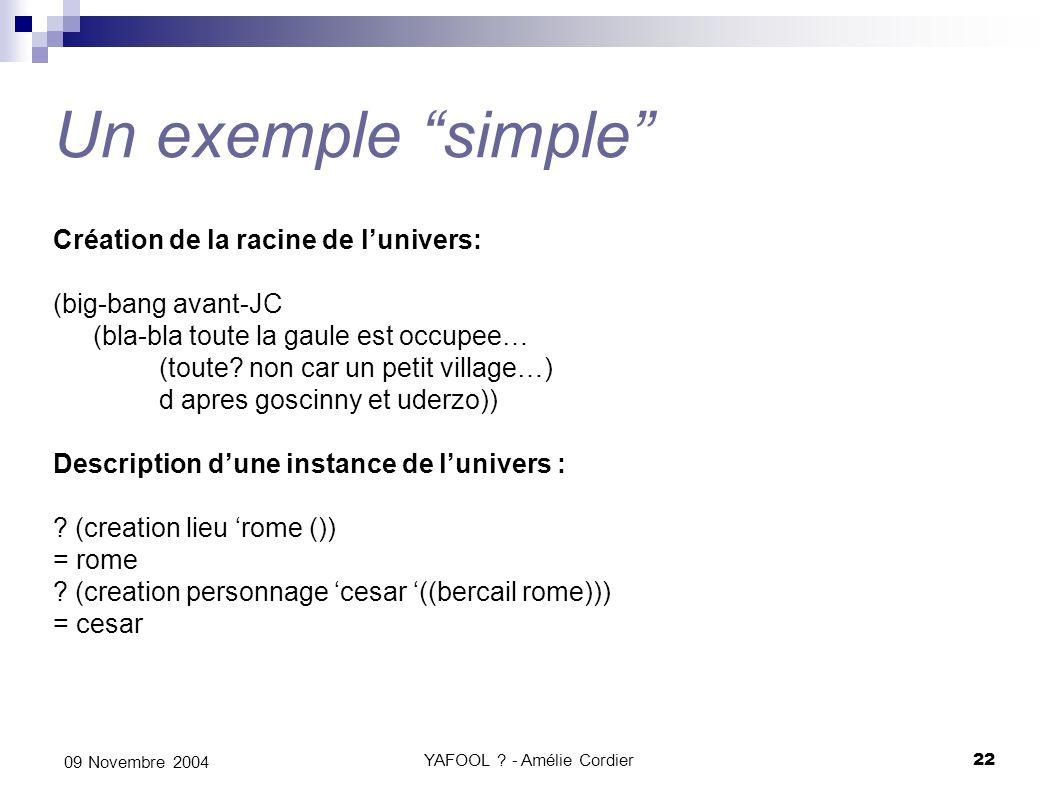 YAFOOL ? - Amélie Cordier22 09 Novembre 2004 Un exemple simple Création de la racine de lunivers: (big-bang avant-JC (bla-bla toute la gaule est occup