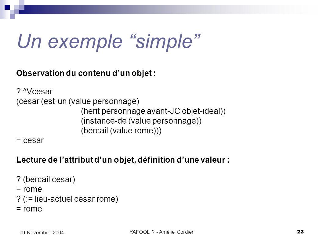YAFOOL ? - Amélie Cordier23 09 Novembre 2004 Un exemple simple Observation du contenu dun objet : ? ^Vcesar (cesar (est-un (value personnage) (herit p