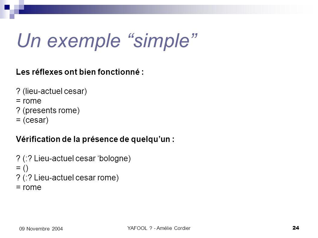 YAFOOL ? - Amélie Cordier24 09 Novembre 2004 Un exemple simple Les réflexes ont bien fonctionné : ? (lieu-actuel cesar) = rome ? (presents rome) = (ce