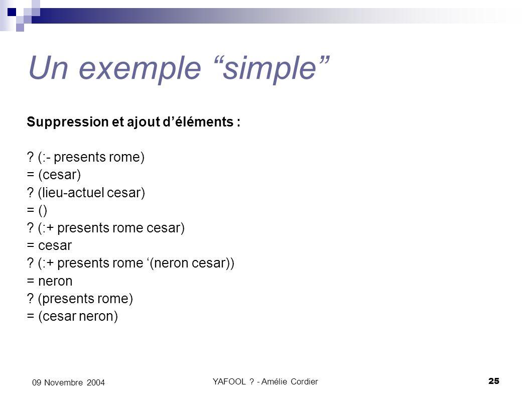 YAFOOL ? - Amélie Cordier25 09 Novembre 2004 Un exemple simple Suppression et ajout déléments : ? (:- presents rome) = (cesar) ? (lieu-actuel cesar) =