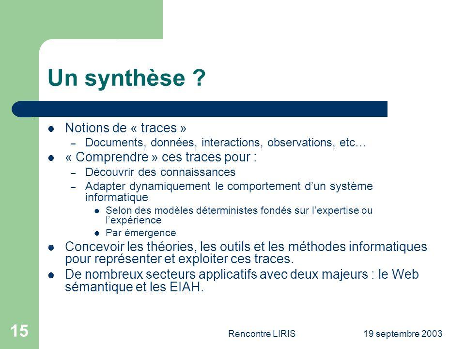 19 septembre 2003Rencontre LIRIS 15 Un synthèse .