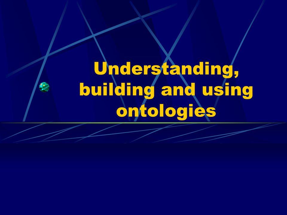 Understanding Ontologie : la définition des concepts utilisés dans un langage donné Première approche (Gruber) Une ontologie est une spécification explicite dune conceptualisation Conceptualisation ?