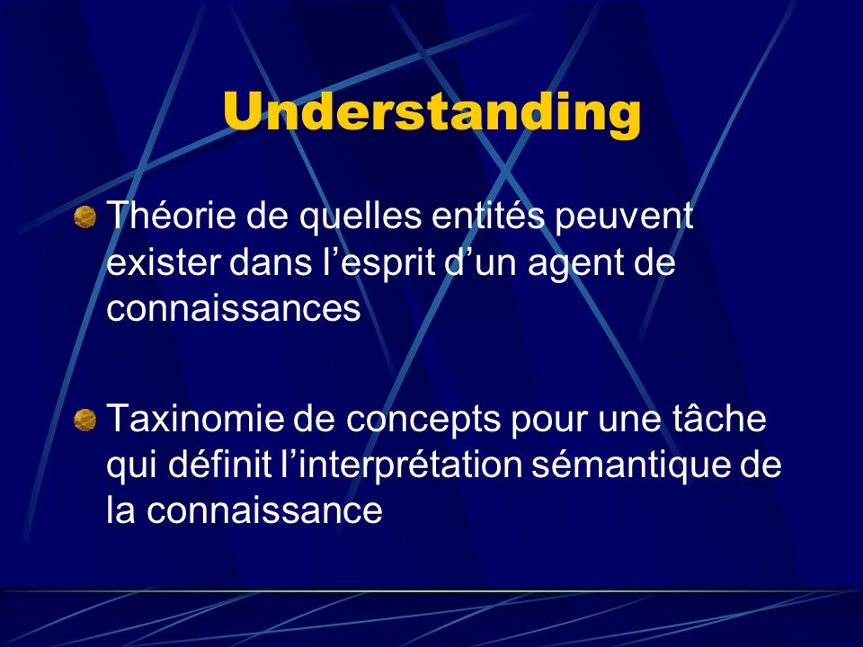 Understanding Théorie de quelles entités peuvent exister dans lesprit dun agent de connaissances Taxinomie de concepts pour une tâche qui définit linterprétation sémantique de la connaissance