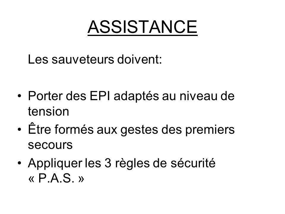 ASSISTANCE Les sauveteurs doivent: Porter des EPI adaptés au niveau de tension Être formés aux gestes des premiers secours Appliquer les 3 règles de s
