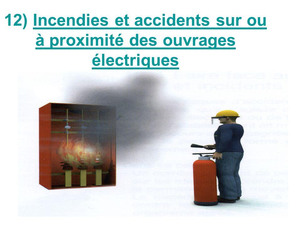 12) Incendies et accidents sur ou à proximité des ouvrages électriques
