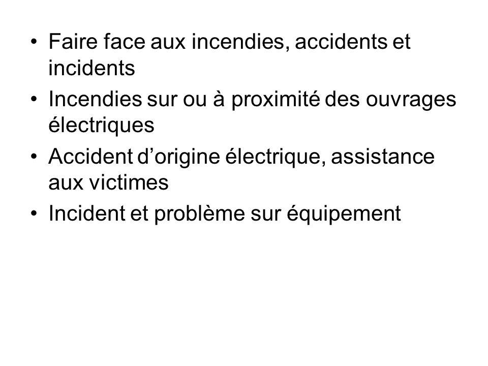 Faire face aux incendies, accidents et incidents Incendies sur ou à proximité des ouvrages électriques Accident dorigine électrique, assistance aux vi