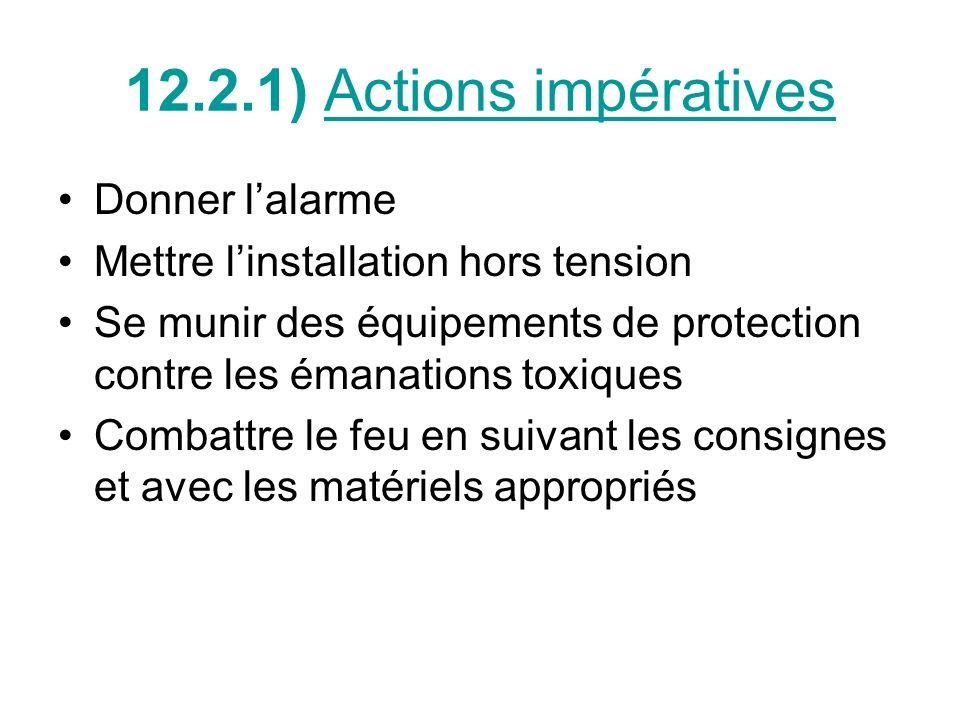 12.2.1) Actions impératives Donner lalarme Mettre linstallation hors tension Se munir des équipements de protection contre les émanations toxiques Com