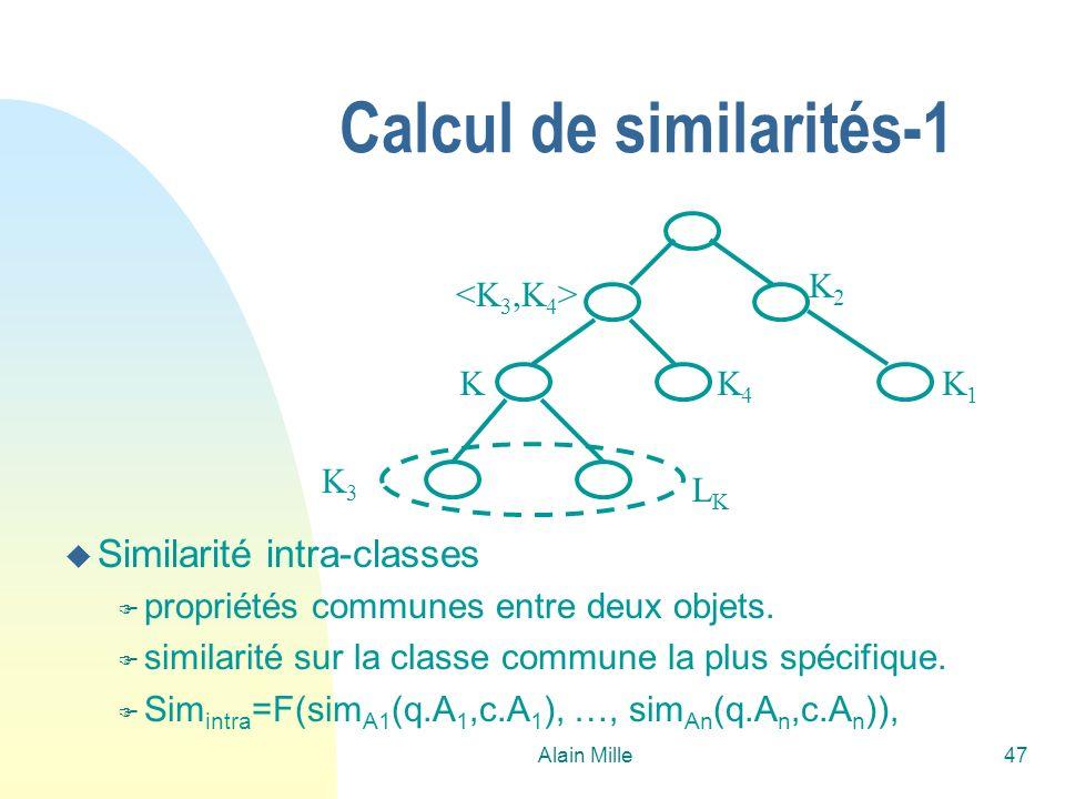 Alain Mille47 Calcul de similarités-1 K1K1 K2K2 K3K3 K4K4 K LKLK u Similarité intra-classes F propriétés communes entre deux objets. F similarité sur