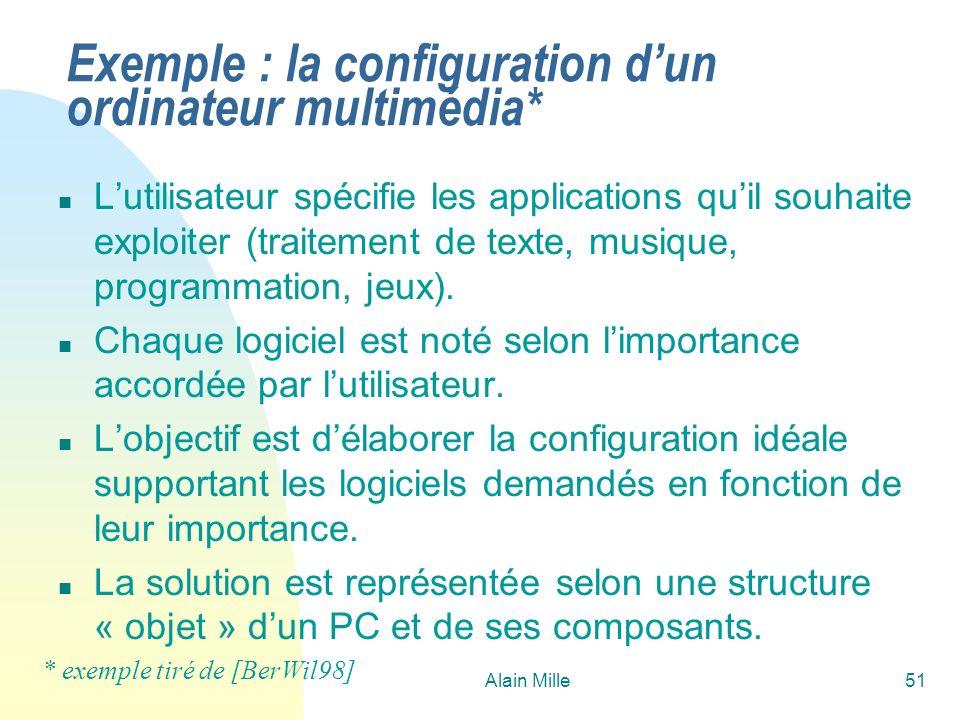 Alain Mille51 Exemple : la configuration dun ordinateur multimédia* n Lutilisateur spécifie les applications quil souhaite exploiter (traitement de texte, musique, programmation, jeux).