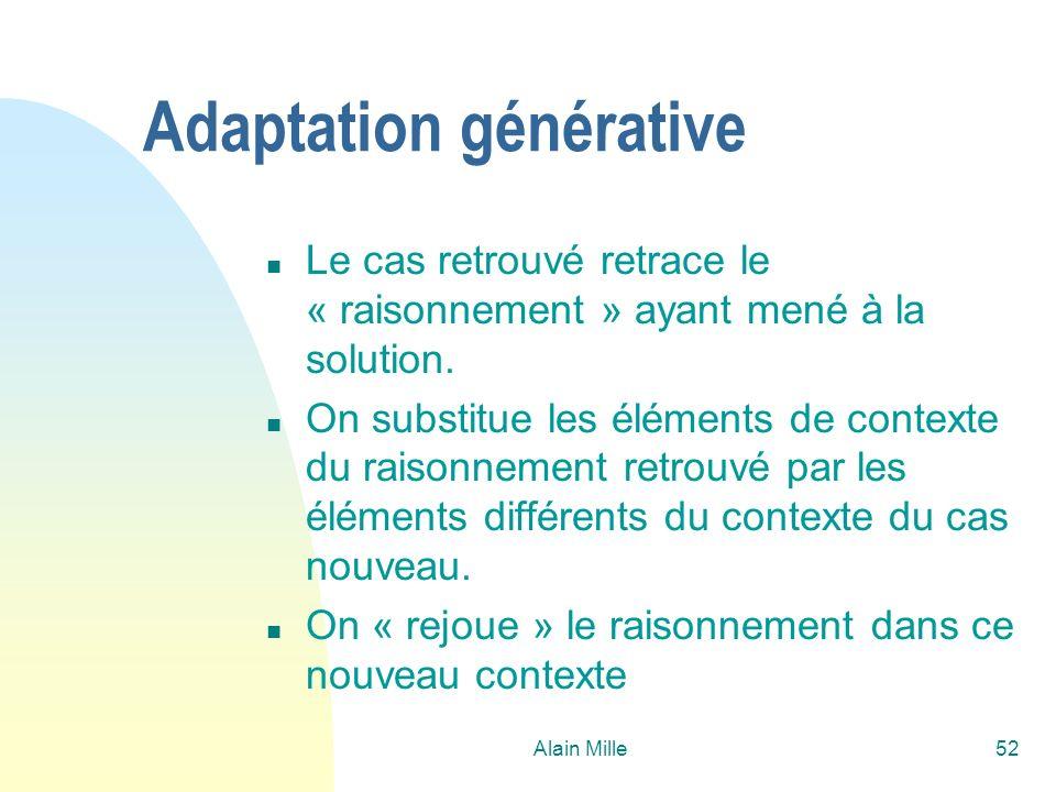 Alain Mille52 Adaptation générative n Le cas retrouvé retrace le « raisonnement » ayant mené à la solution. n On substitue les éléments de contexte du
