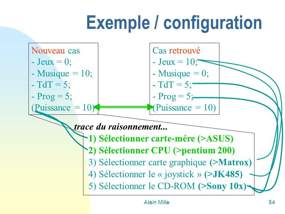 Alain Mille54 Nouveau cas - Jeux = 0; - Musique = 10; - TdT = 5; - Prog = 5; (Puissance = 10) Cas retrouvé - Jeux = 10; - Musique = 0; - TdT = 5; - Prog = 5; (Puissance = 10) 5) Sélectionner le CD-ROM (>Sony 10x) 1) Sélectionner carte-mére (>ASUS) 2) Sélectionner CPU (>pentium 200) 3) Sélectionner carte graphique (>Matrox) 4) Sélectionner le « joystick » (>JK485) trace du raisonnement...