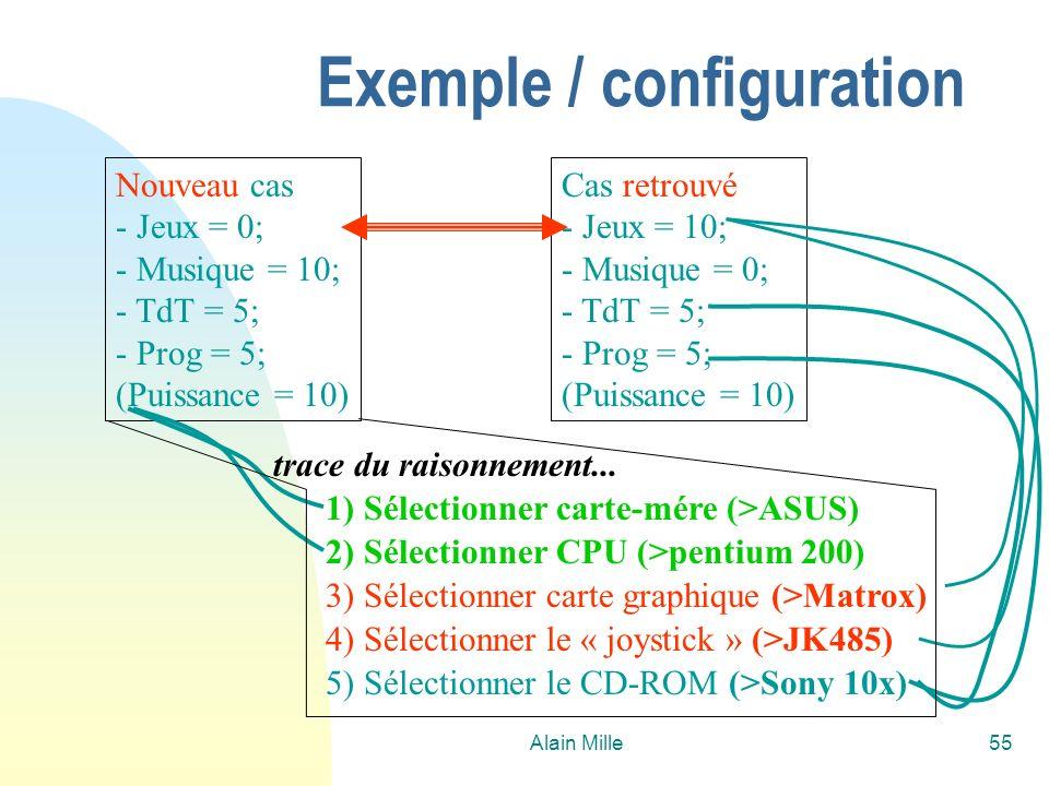 Alain Mille55 Nouveau cas - Jeux = 0; - Musique = 10; - TdT = 5; - Prog = 5; (Puissance = 10) Cas retrouvé - Jeux = 10; - Musique = 0; - TdT = 5; - Prog = 5; (Puissance = 10) 5) Sélectionner le CD-ROM (>Sony 10x) 1) Sélectionner carte-mére (>ASUS) 2) Sélectionner CPU (>pentium 200) 3) Sélectionner carte graphique (>Matrox) 4) Sélectionner le « joystick » (>JK485) trace du raisonnement...