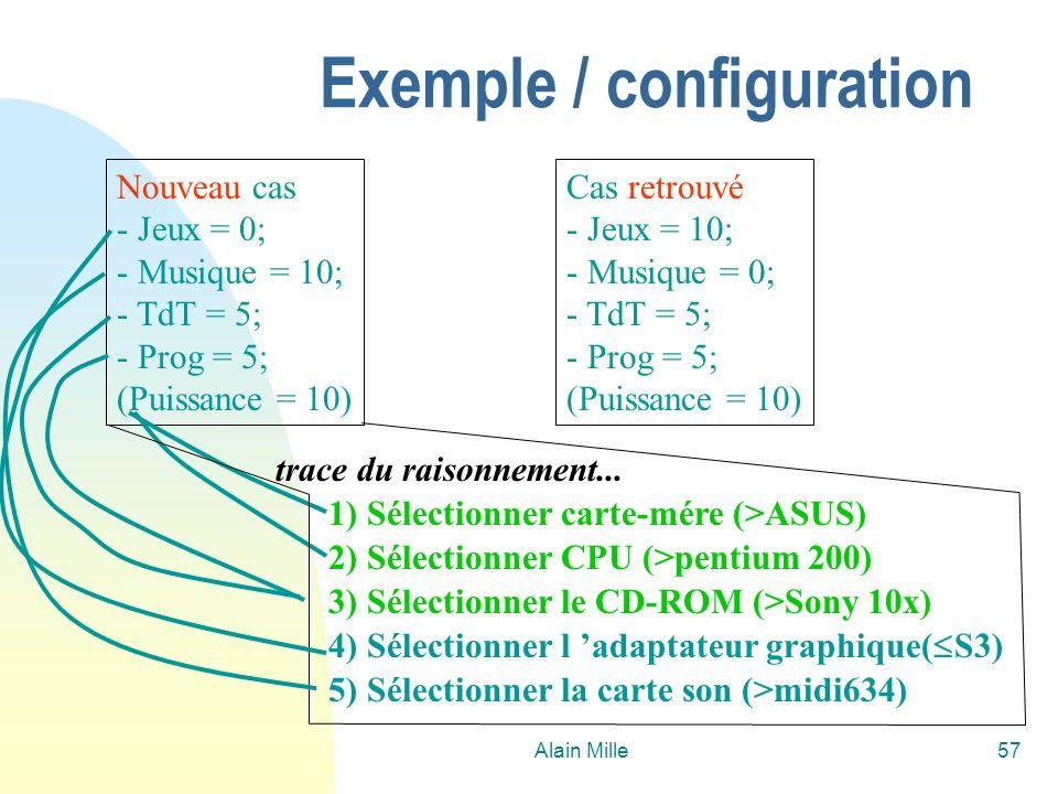 Alain Mille57 Nouveau cas - Jeux = 0; - Musique = 10; - TdT = 5; - Prog = 5; (Puissance = 10) Cas retrouvé - Jeux = 10; - Musique = 0; - TdT = 5; - Prog = 5; (Puissance = 10) 3) Sélectionner le CD-ROM (>Sony 10x) 1) Sélectionner carte-mére (>ASUS) 2) Sélectionner CPU (>pentium 200) trace du raisonnement...