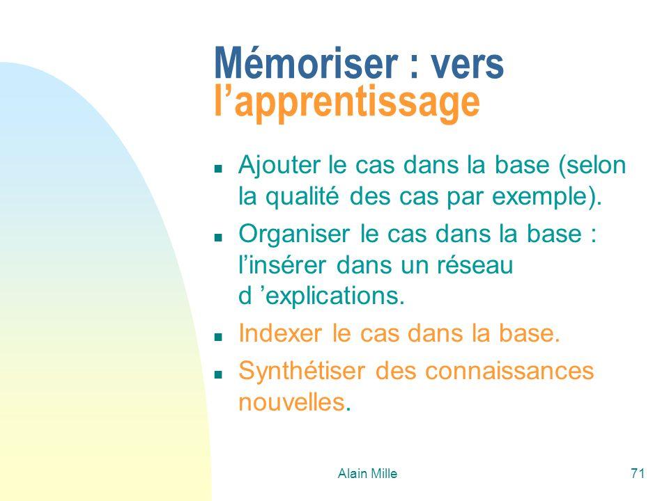 Alain Mille71 Mémoriser : vers lapprentissage n Ajouter le cas dans la base (selon la qualité des cas par exemple).