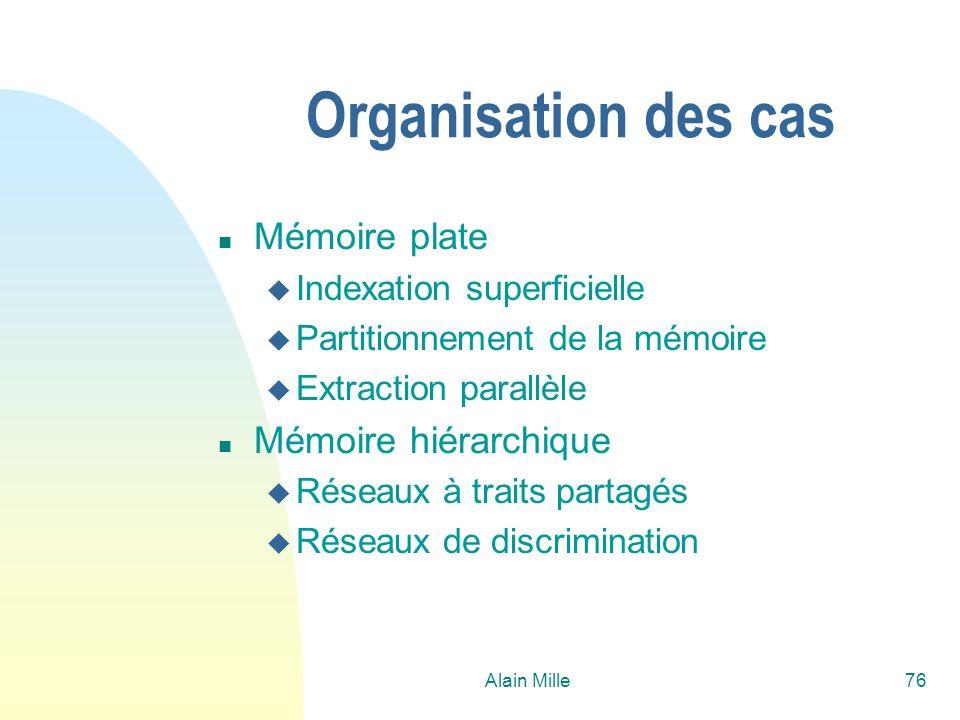 Alain Mille76 Organisation des cas n Mémoire plate u Indexation superficielle u Partitionnement de la mémoire u Extraction parallèle n Mémoire hiérarchique u Réseaux à traits partagés u Réseaux de discrimination