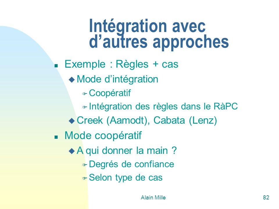 Alain Mille82 Intégration avec dautres approches n Exemple : Règles + cas u Mode dintégration F Coopératif F Intégration des règles dans le RàPC u Cre