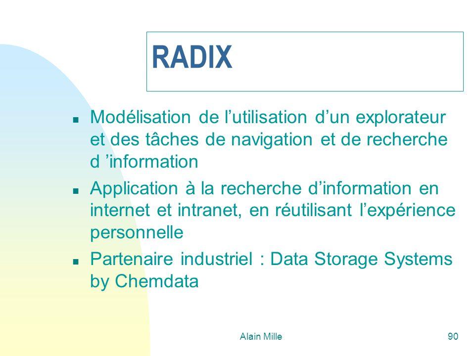 Alain Mille90 RADIX n Modélisation de lutilisation dun explorateur et des tâches de navigation et de recherche d information n Application à la recher