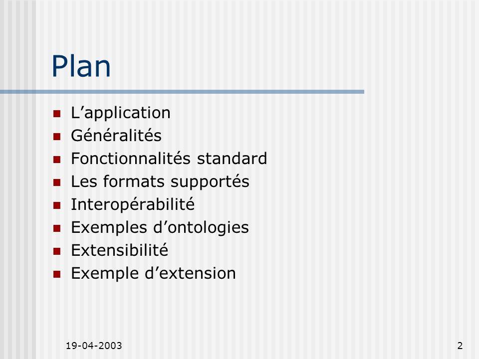 19-04-20032 Plan Lapplication Généralités Fonctionnalités standard Les formats supportés Interopérabilité Exemples dontologies Extensibilité Exemple dextension