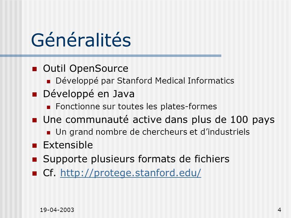 19-04-20034 Généralités Outil OpenSource Développé par Stanford Medical Informatics Développé en Java Fonctionne sur toutes les plates-formes Une communauté active dans plus de 100 pays Un grand nombre de chercheurs et dindustriels Extensible Supporte plusieurs formats de fichiers Cf.