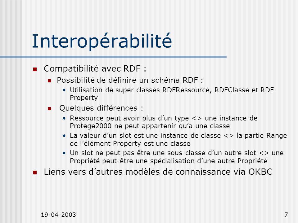 19-04-20037 Interopérabilité Compatibilité avec RDF : Possibilité de définire un schéma RDF : Utilisation de super classes RDFRessource, RDFClasse et RDF Property Quelques différences : Ressource peut avoir plus dun type <> une instance de Protege2000 ne peut appartenir qua une classe La valeur dun slot est une instance de classe <> la partie Range de lélément Property est une classe Un slot ne peut pas être une sous-classe dun autre slot <> une Propriété peut-être une spécialisation dune autre Propriété Liens vers dautres modèles de connaissance via OKBC