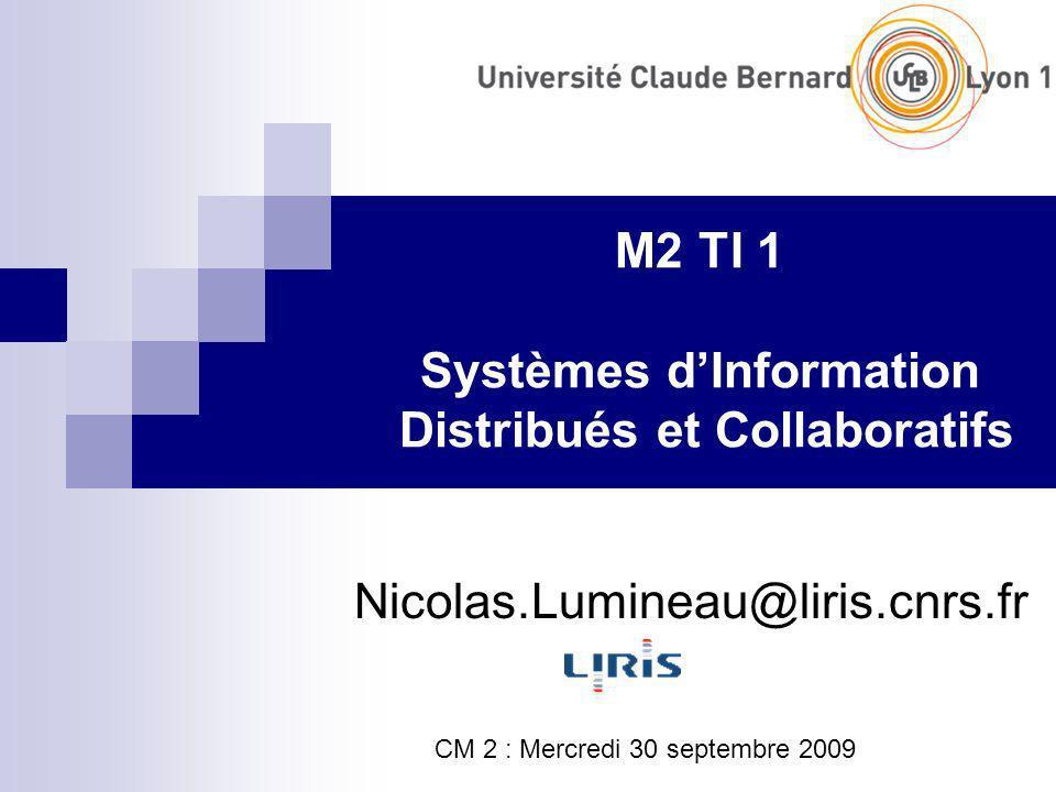 M2 TI 1 Systèmes dInformation Distribués et Collaboratifs Nicolas.Lumineau@liris.cnrs.fr CM 2 : Mercredi 30 septembre 2009