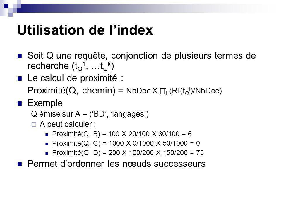 Utilisation de lindex Soit Q une requête, conjonction de plusieurs termes de recherche (t Q 1, …t Q k ) Le calcul de proximité : Proximité(Q, chemin) = NbDoc X i (RI(t Q i )/NbDoc) Exemple Q émise sur A = (BD, langages) A peut calculer : Proximité(Q, B) = 100 X 20/100 X 30/100 = 6 Proximité(Q, C) = 1000 X 0/1000 X 50/1000 = 0 Proximité(Q, D) = 200 X 100/200 X 150/200 = 75 Permet dordonner les nœuds successeurs