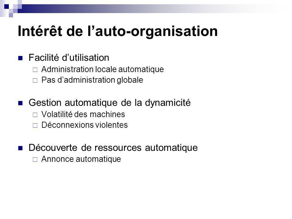 Intérêt de lauto-organisation Facilité dutilisation Administration locale automatique Pas dadministration globale Gestion automatique de la dynamicité