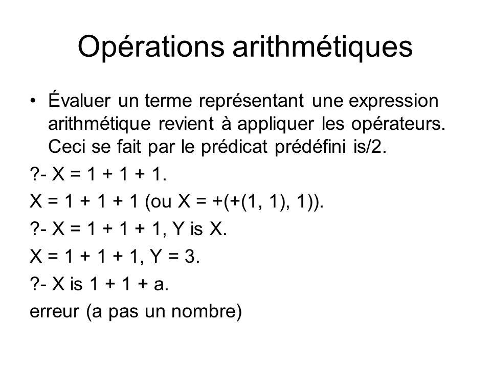 Opérations arithmétiques Évaluer un terme représentant une expression arithmétique revient à appliquer les opérateurs. Ceci se fait par le prédicat pr