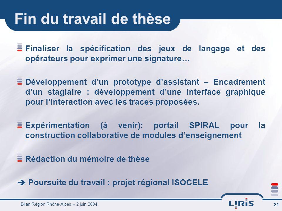 Bilan Région Rhône-Alpes – 2 juin 2004 22 Merci…