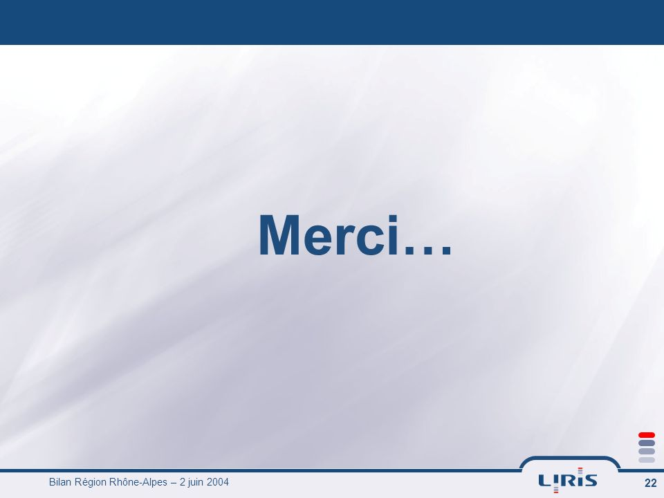 Bilan Région Rhône-Alpes – 2 juin 2004 23 Lots 4-5 : Aide contextuelle à la collaboration des concepteurs et des ingénieurs de calcul : partage et réutilisation de lexpérience La gestion de projet de conception intègre de multiples métiers qui co- opèrent à des stades de plus en plus précoces (simulation) Au delà des procédures de collaboration prescrites, nous nous intéressons aux procédures implicites, tacites constituant « lexpérience » Ces connaissances non explicites sont « tracées » dans les interactions des acteurs pendant le projet Les traces sont la source dinspiration pour fournir les contextes de réutilisation (signatures de tâches) Une expérience « collective » peut alors émerger de lassociation des expériences individuelles (mémoire implicite du projet)
