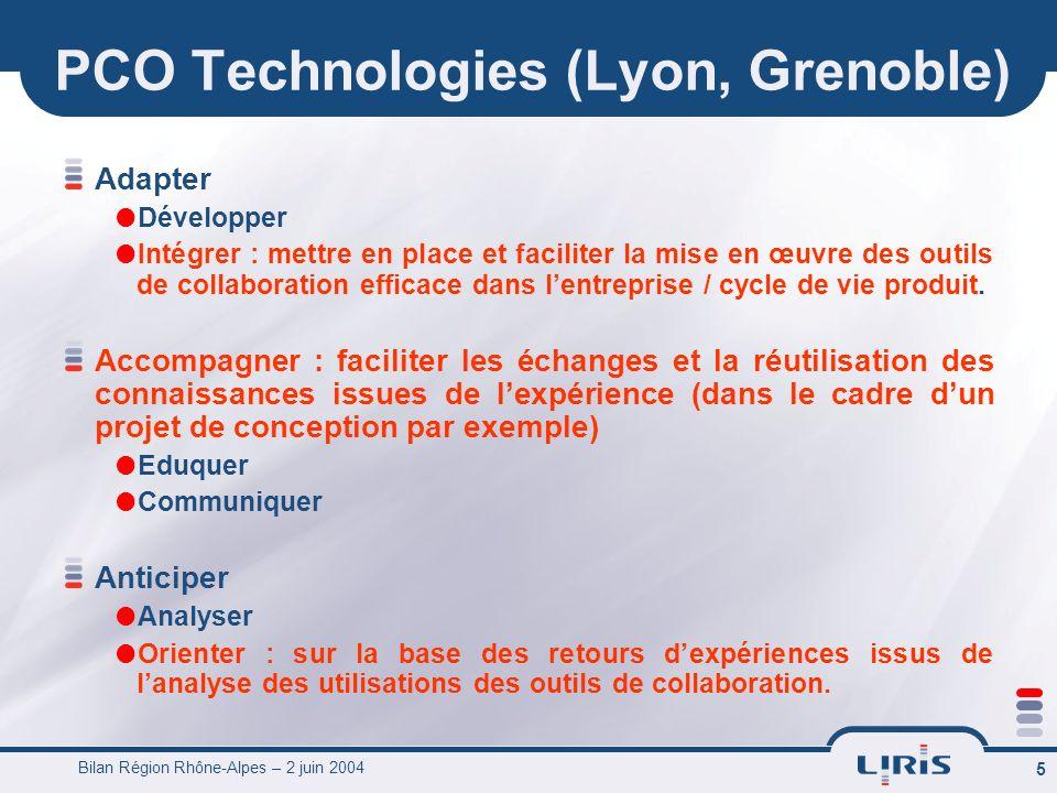 Bilan Région Rhône-Alpes – 2 juin 2004 5 PCO Technologies (Lyon, Grenoble) Adapter Développer Intégrer : mettre en place et faciliter la mise en œuvre des outils de collaboration efficace dans lentreprise / cycle de vie produit.