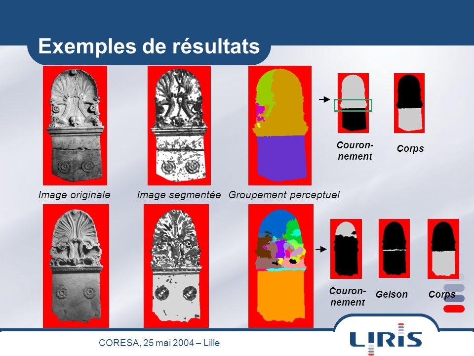 CORESA, 25 mai 2004 – Lille Groupement perceptuel (Niveau 1) Image segmentéeImage originale Exemples de résultats Couron- nement GeisonCorps Couron- nement Corps