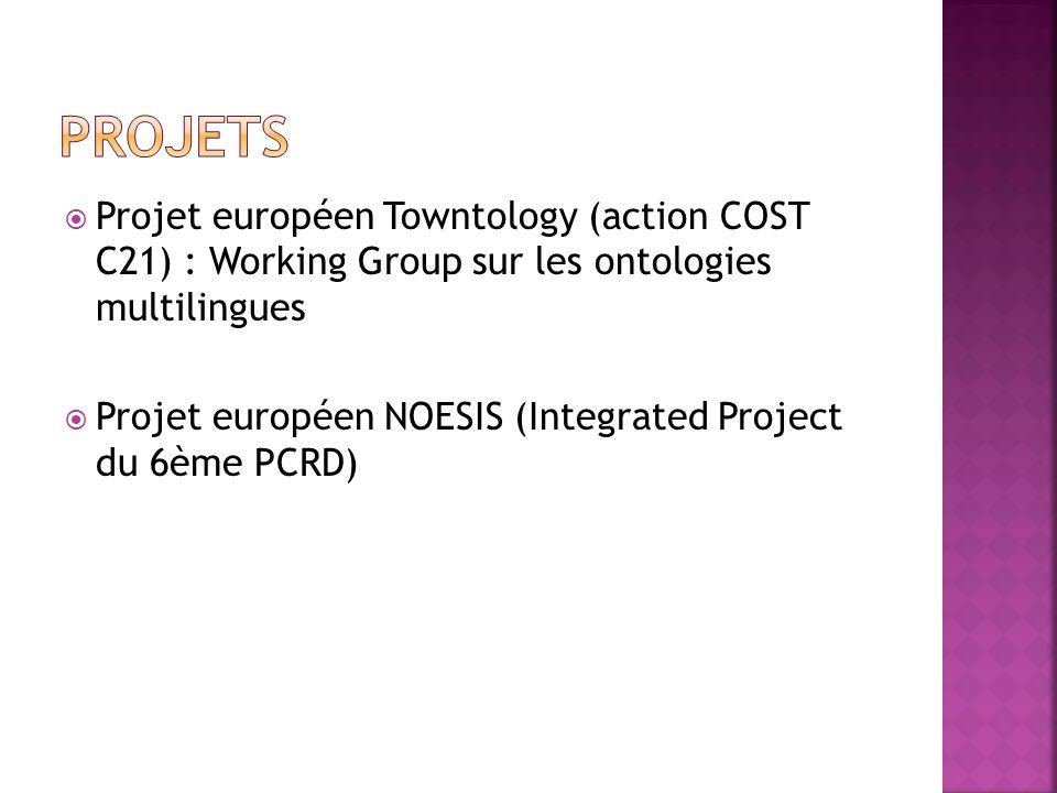 Projet européen Towntology (action COST C21) : Working Group sur les ontologies multilingues Projet européen NOESIS (Integrated Project du 6ème PCRD)