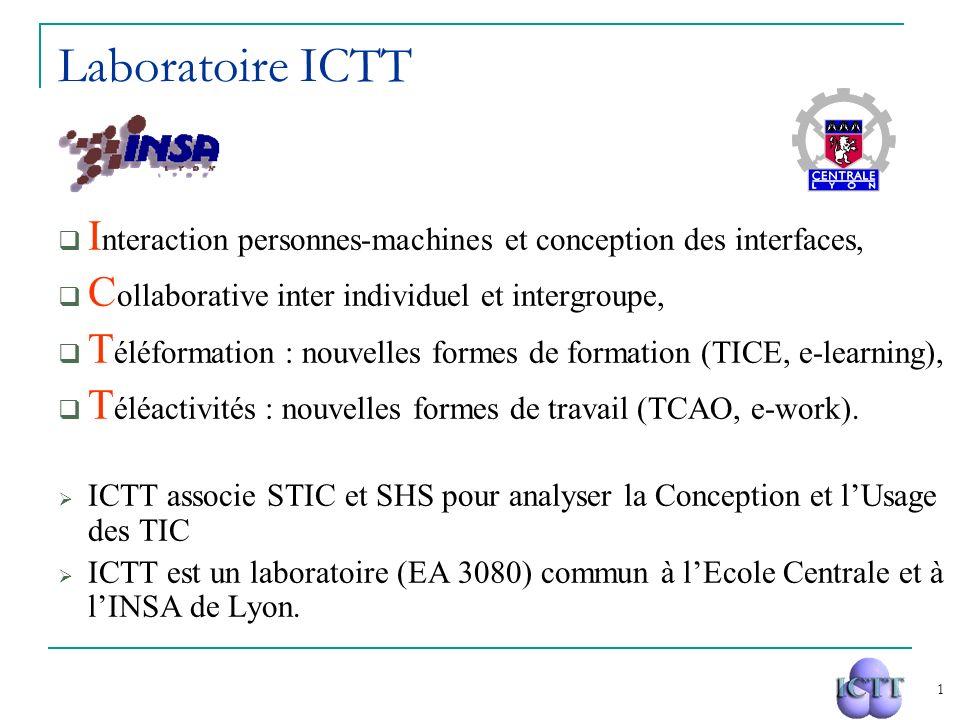 1 Laboratoire ICTT I nteraction personnes-machines et conception des interfaces, C ollaborative inter individuel et intergroupe, T éléformation : nouv