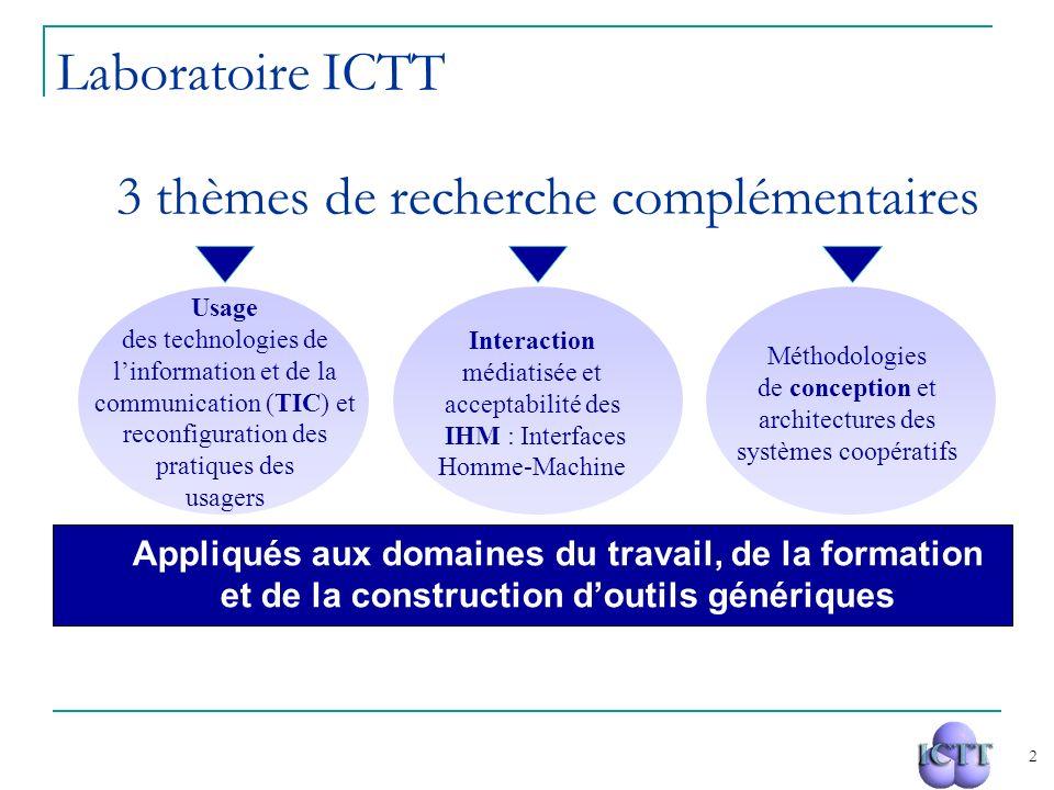 2 3 thèmes de recherche complémentaires Usage des technologies de linformation et de la communication (TIC) et reconfiguration des pratiques des usage
