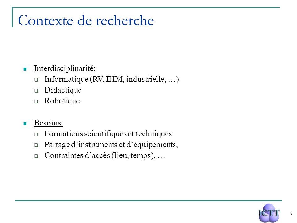 5 Interdisciplinarité: Informatique (RV, IHM, industrielle, …) Didactique Robotique Besoins: Formations scientifiques et techniques Partage dinstrumen