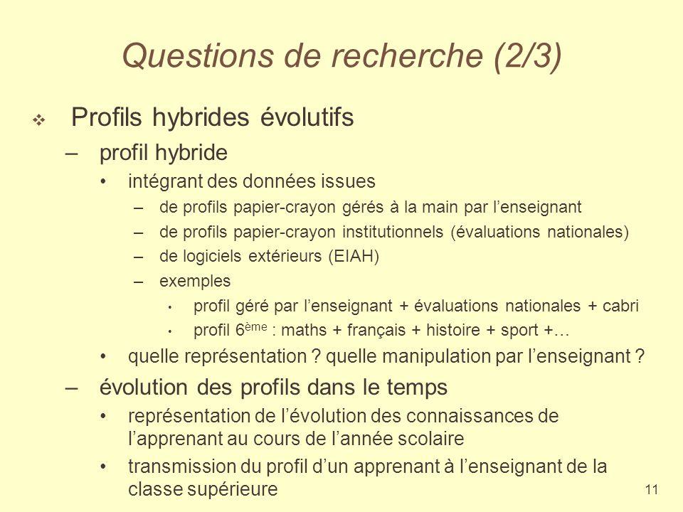 11 Questions de recherche (2/3) Profils hybrides évolutifs –profil hybride intégrant des données issues –de profils papier-crayon gérés à la main par