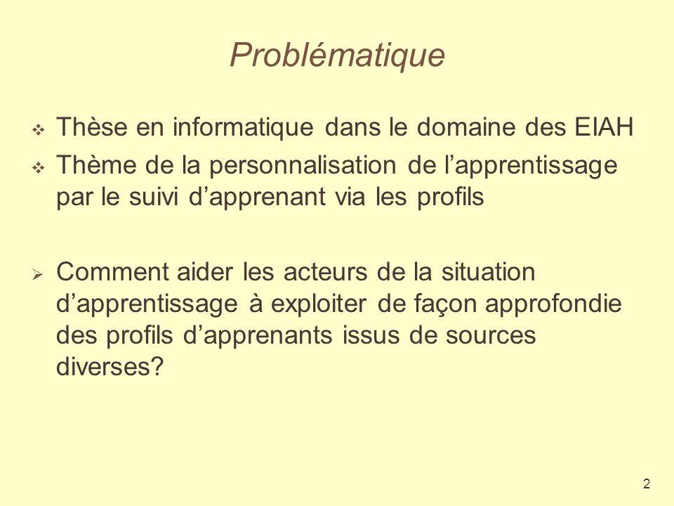 2 Problématique Thèse en informatique dans le domaine des EIAH Thème de la personnalisation de lapprentissage par le suivi dapprenant via les profils