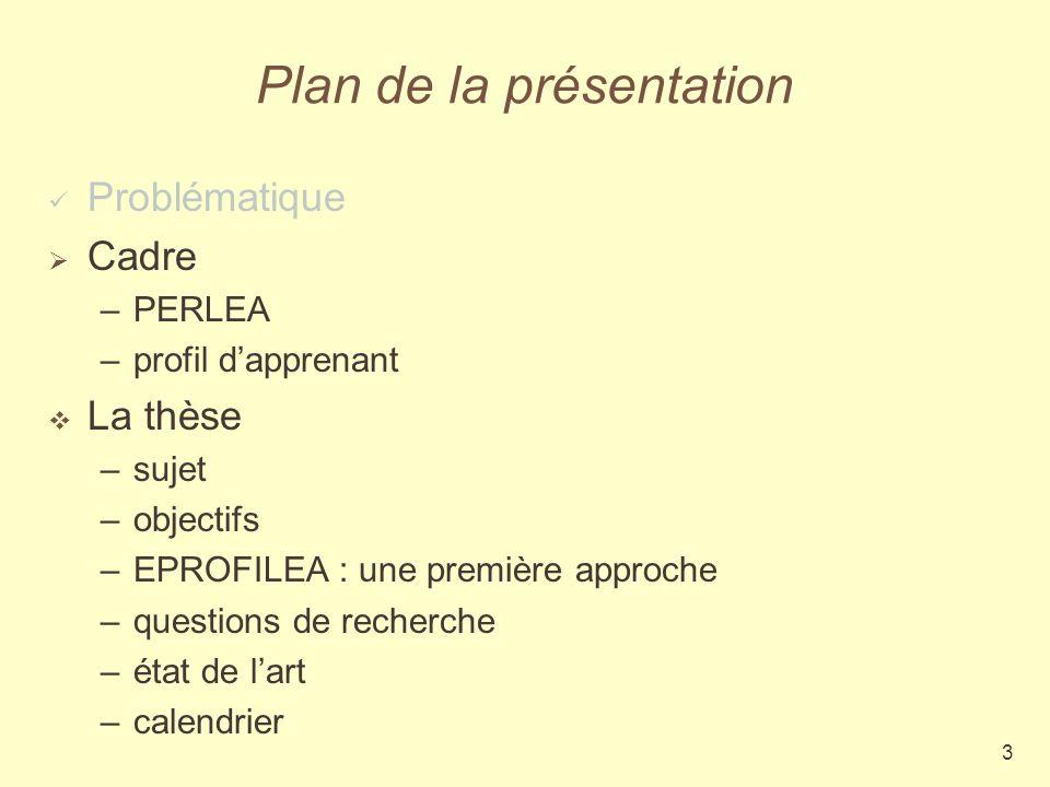 3 Plan de la présentation Problématique Cadre –PERLEA –profil dapprenant La thèse –sujet –objectifs –EPROFILEA : une première approche –questions de recherche –état de lart –calendrier