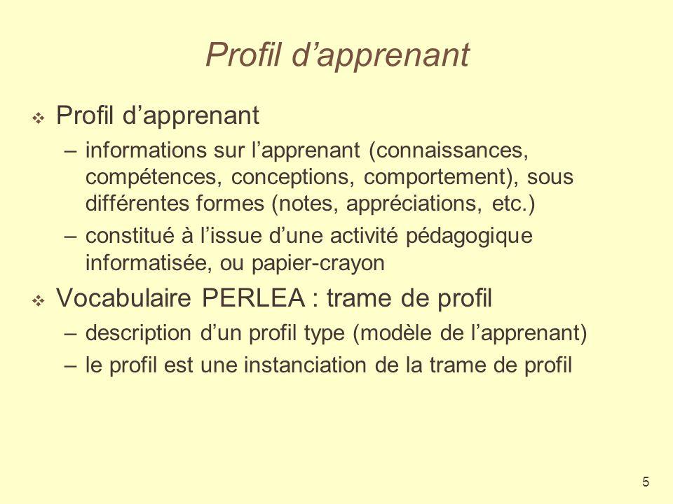 5 Profil dapprenant –informations sur lapprenant (connaissances, compétences, conceptions, comportement), sous différentes formes (notes, appréciation