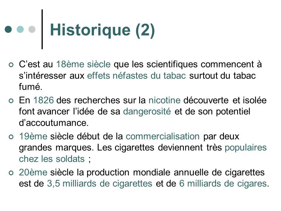 Historique (2) Cest au 18ème siècle que les scientifiques commencent à sintéresser aux effets néfastes du tabac surtout du tabac fumé. En 1826 des rec