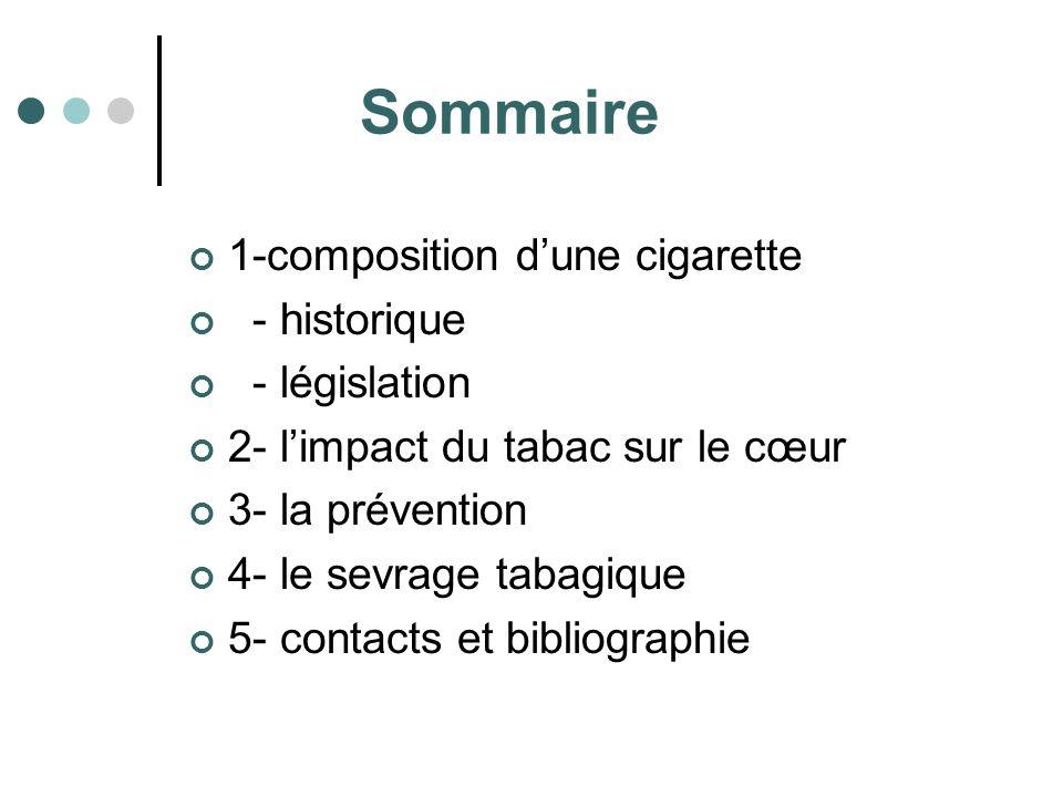 Sommaire 1-composition dune cigarette - historique - législation 2- limpact du tabac sur le cœur 3- la prévention 4- le sevrage tabagique 5- contacts